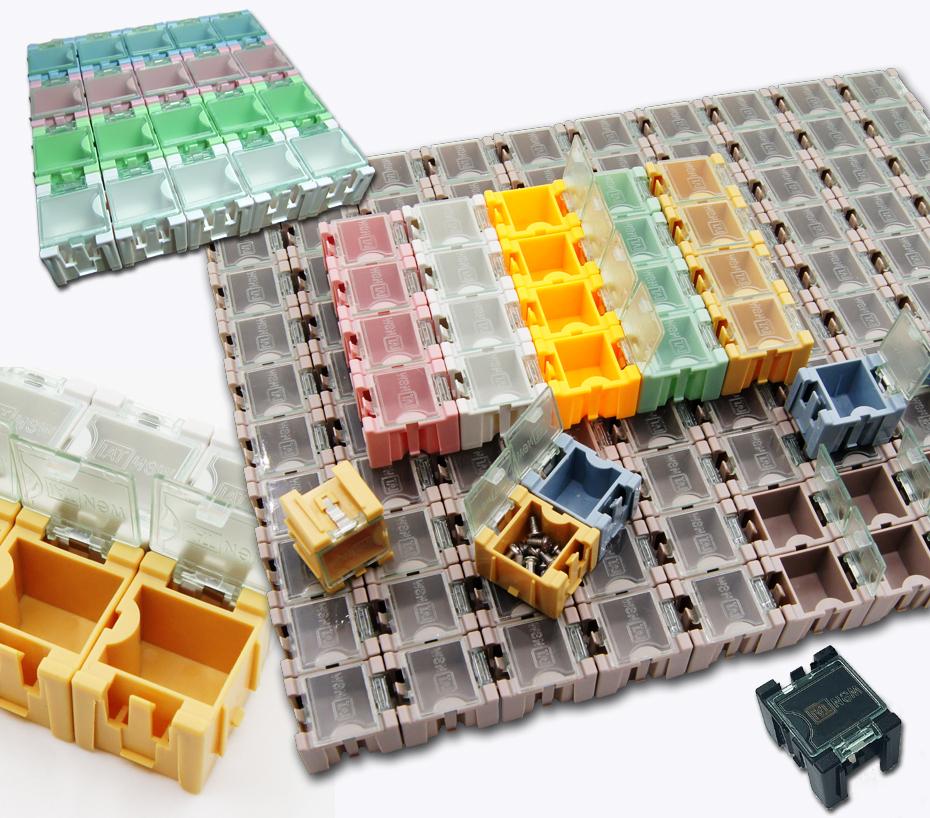 braun 1x 20 Stück Leer Container Sortiment für SMD Bauelemente grau